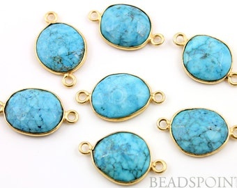 Natural TURQUOISE, Bezel  Turquoise Component, Gold Vermeil,    14 - 16mm, 1 Piece, (BZC7105-MD)