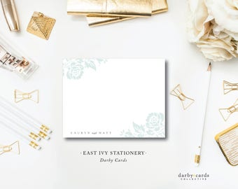 East Ivy Printed Stationery Notecards | Flat A6 Stationery Flat Notes with Blank Envelopes | Printed by Darby Cards Collective