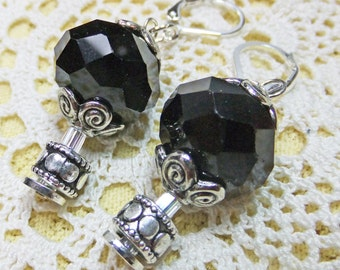 Steampunk Air Ship Fantasy Hot Air Balloon Dangle Earrings with Fasceted Black Glass Beads with Metal Beadcaps and Leverbacks