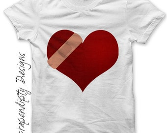 Iron on Healing Shirt PDF - Bandaid Heart Iron on Transfer / Adult Heart Healing Tshirt / Womens Broken Heart Clothes / Printable Tee IT278