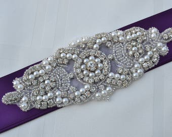 Bridal Sash-Rhinestone Crystal Pearl -Wedding Dress Belt-Eggplant Wedding Sash