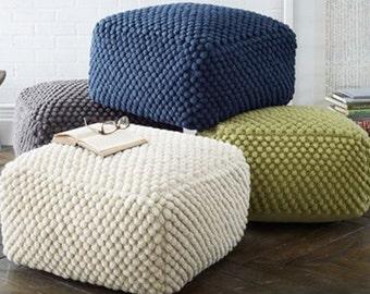Crochet grey/white/blue/green pouf-ottoman / Knit Stuffed ottoman / Crochet footstool