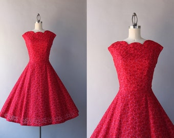 1950s Dress / Vintage 50s Party Dress / 1950s Ruby Red Embroidered Organza Party Dress