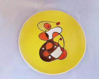 Ceramic mid-century design salad or dessert plate yellow hand made