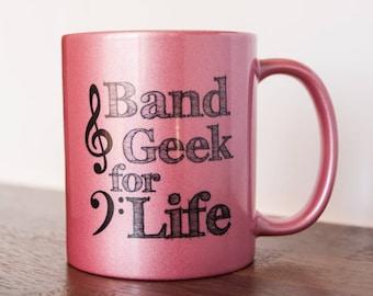 Band Geek for Life Musician Coffee Mug 11 oz Pink