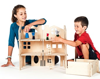 Modern Dollhouse / Spark Creativity With Modular Wood Doll House Kit