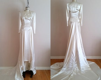 Vintage 1930s Silk Satin Wedding Dress / 30s Wedding Dress / Ivory / Long Sleeves / Petite Wedding Dress / XXS
