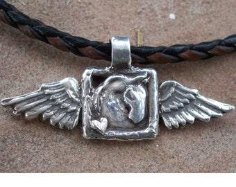 Winged Horse Head Pendant