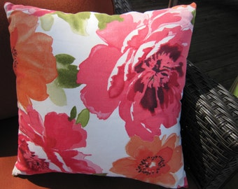 Bright floral 18 inch square pillow cover with invisible zipper