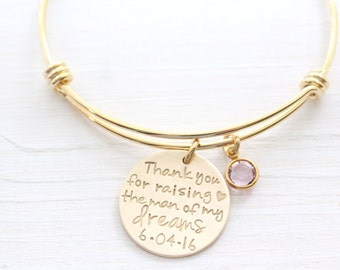 Thank You For Raising The Man Of My Dreams Bracelet, Gold Bangle, Wedding Day Gift For Mother In Law, Gift For Her