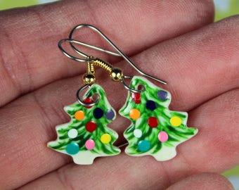 Christmas Tree DangleEarrings Handmade Porcelain Ceramic Jewelry