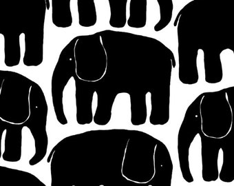 Fabric white black retro Elephants Cotton Fabric Kids Fabric Scandinavian Design Scandinavian Textile