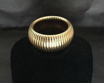 Estate Couture Gold Tone Cuff/Large Bangle  Bracelet