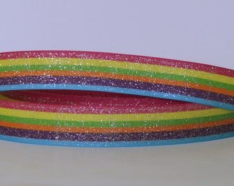 "Rainbow Colorful Glitter Shiny Sparkles Ribbon 7/8"" Scrapbooking HairBows Parties DIY Projects GR010518"