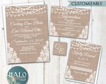 Rustic Lace Wedding invitation, burlap lace wedding invitation, Burlap wedding invitation