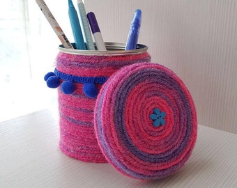 Porte Pot à crayons rose crayon crayon coupe crayon pour bureau coupe crayon pour les enfants au crayon tissu Art recyclage