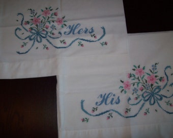 Vintage Pillowcases His and Hers, Linen, Hand Embroidered Pillowcases His and Hers (2 cases) Wedding or  Anniversary