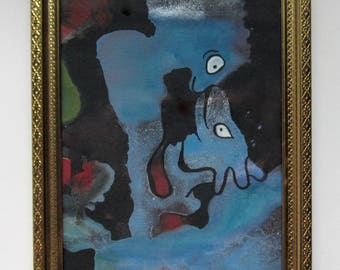 Snout to Snout - Original Art OOAK painting acrylic and latex paint w India Ink on archival paper in a frame framed
