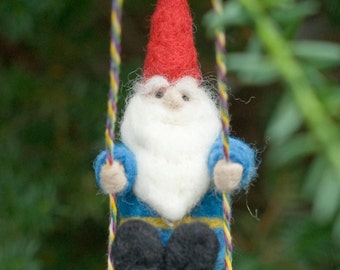 Needle Felted Gnome Ornament - On a Swing