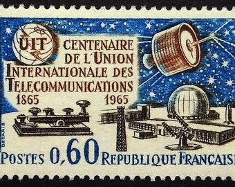 Morse Key, Satellites, Amateur Radio -Handmade Framed Postage Stamp Art 22491AM