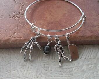 Zombie Apocalypse Adjustable Bangle Bracelet - Zombie Jewelry - Black Swarovski Pearl
