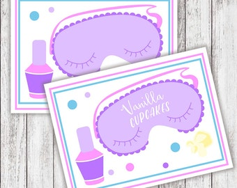 PRINTABLE - Slumber Party Buffet Tents - #DIY #Digital File - BLANK