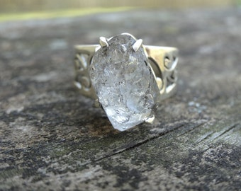 Sterling Silver Natural Herkimer Diamond 925 Ring Size 7 - double-terminated quartz crystal ring - Natural Stone Ring size 7 - Moon ring