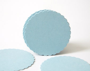 "50 Light Blue Scalloped Circles punch die cut scrapbook embellishments - 1"" circles - No835"