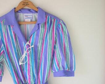Vintage 1980s Purple Striped Dress // Size small-to-medium // Candy // Carnival // Mod // Retro // Purple // Rainbow Stripe // Colourful