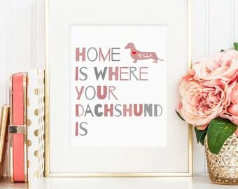 Dachshund gift, Dachshund art print, personalized art print for your dachshund, lovely dog wall art, Great gift for dachshund dog owner!