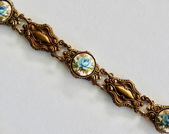 Vintage Brass and Porcelain Blue Roses Bracelet