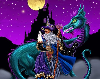 Mage Fire, Mouse pad, mage, Wizard, dragon, wizard and dragon, dragon and wizard, castle, magic fire, magic, full moon
