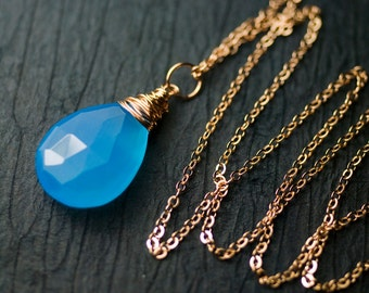 "Azure Blue Chalcedony Rose Goldfilled Pendant Necklace by Mossandmist - ""Wild Blue"""