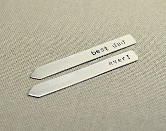 Sterling silver collar stays for the best dad ever - Solid 925 - Can be custom engraved upon request - CS909