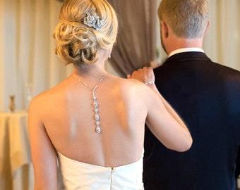 Bridal Backdrop necklace, Bridal jewelry, Bridal back necklace, Bridal necklace, Wedding back drop necklace, Wedding necklace, Back jewelry
