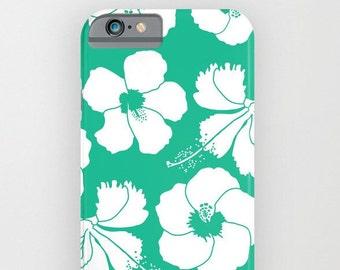 54 colors Hawaiian Flowers Phone Case, Tropical Flowers Phone Case, Turquoise Hibiscus Phone Case iPhone 7 Plus iPhone 6 6S Plus
