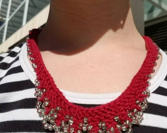 Pink Layered Beaded and Knit Necklace