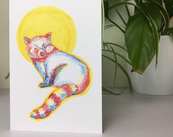 Illustrated red panda card