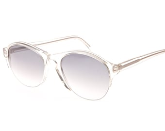 Daniel Hecter Paris NOS vintage one of a kind half rimmed clear - lucite aviator sunglasses with grey fade lenses