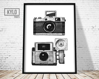 Camera Print, Vintage Camera, Wall Art, Printable Art, Instant Download, Digital Print, Home Decor, Office Decor, Film Camera Print, Gift