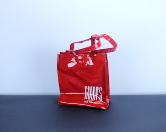 GUMPS San Francisco Fashion Typography Graphic Vintage Market Beach Store Logo Shopping Tote RED Vinyl Reusable