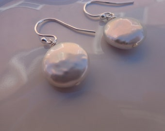 Large White Coin Pearl Earrings with Sterling Silver Shepherds Hooks or Post & Butterflies with beautiful Black Velvet Gift Wrap