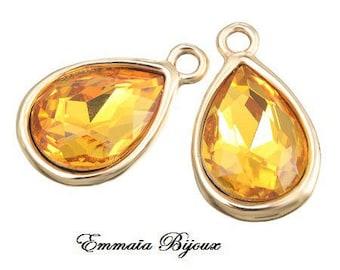 2 pendants yellow Crystal 20 x 12 mm