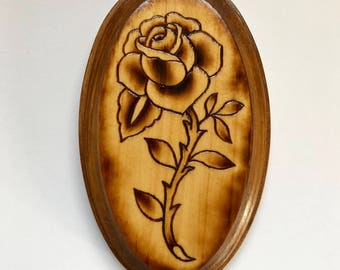 Tattoo rose traditional pyrography woodburn ORIGINAL