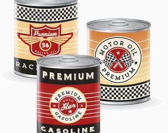 Vintage Racing Tin Can Labels, Race Car Party, Instant Download, Printable Labels