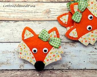 Felt Fox, Fox hair clip, Fox hair slide, Felt hair clip, fox barrette,