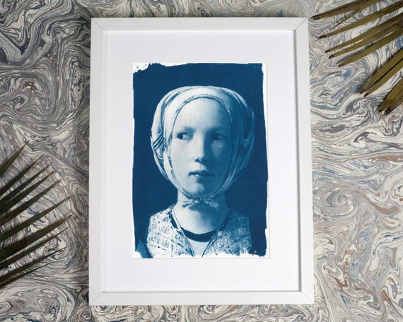 Girl from French Painter De La Tour, Cyanotype Art Print on Watercolor Print Paper, A4 (Limited Edition)