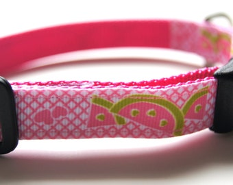 Pink Watermelon Dog Collar Adjustable Sizes (XS, S, M)