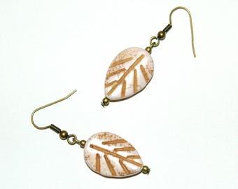 Earrings - cream colored leaves