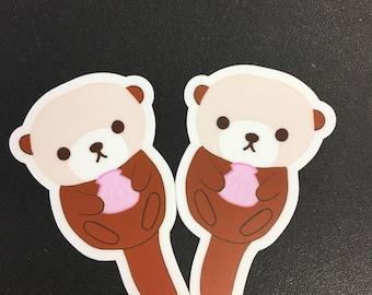 2x Sea Otter Stickers
